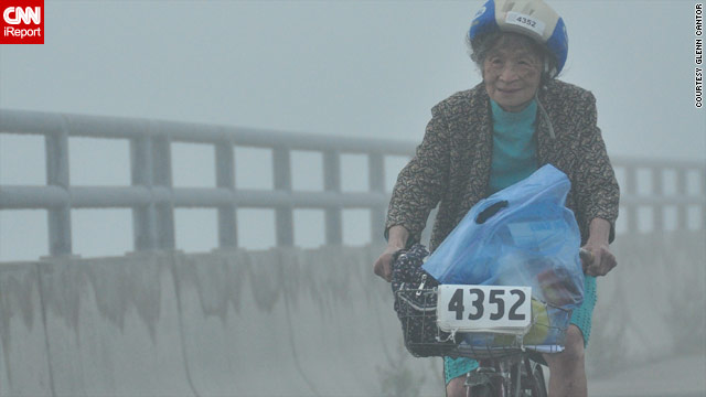 "For the past 26 years, 84-year-old Lan Yin ""Eiko"" Tsai has worn a dress and high heels to bike 150 miles for MS research."