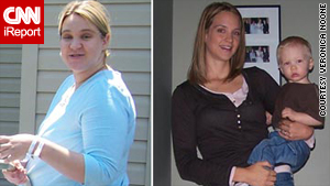 "At left, Veronica Noone, after her son was born in June 2005; and about 15 months later. She says she maintains her weight by trying not to be ""perfect"" in her diet."