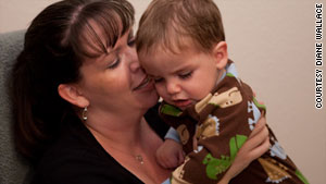 Fifteen-month-old Nathan Higuera, with mom Kerry, was exposed to radiation in utero.
