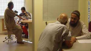 Patients being tested for high blood pressure at the Aziz Tabba Kidney Centre in Karachi, Pakistan.