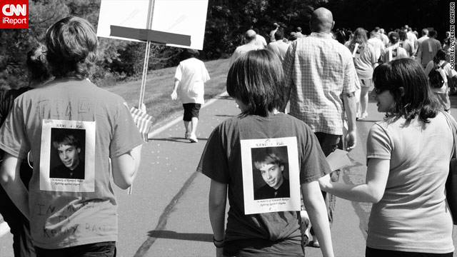 Walks to remember those who lost their lives to suicide are held nationwide. Here, friends remember Kenny Baker in May 2009.