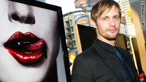 "Actor Alexander Skarsgard has a taste for female necks in the vampire TV show ""True Blood."""