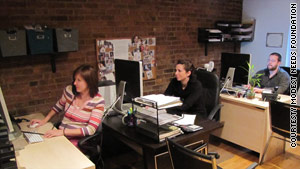 Staffers Fawn Volkert, Jennifer Elfar and Forrest Mason work on cases at Modest Needs' New York office.