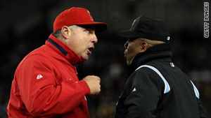 L.A. Angels Manager Mike Scioscia argues with umpire Laz Diaz during Game One of the ALCS against N.Y. Yankees.