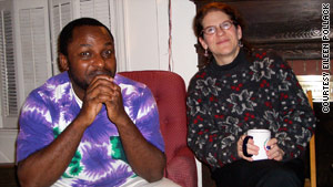 Uwem Akpan and Eileen Pollack at a holiday dinner.