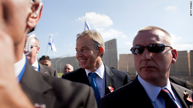 Tony Blair, shown at a crossing between the West Bank and Israel, didn't get the EU presidency but remains a Mideast envoy.