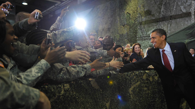 President Obama greets U.S. troops on a visit to South Korea.