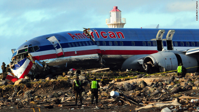 An American Airlines flight carrying 154 passengers slid off a runway while landing in torrential rain in Jamaica, Tuesday.