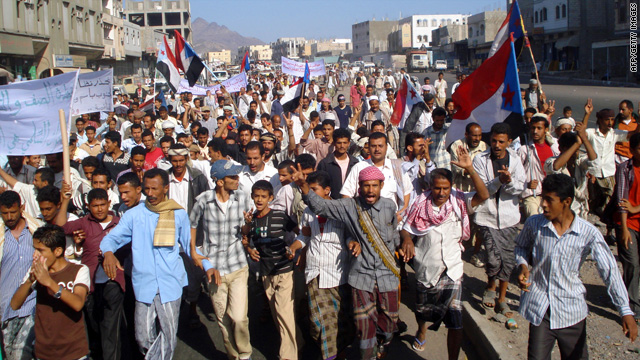 Yemenis demonstrate against a government raid that killed suspected al Qaeda members in Yemen&#039;s Shabwa province.