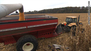 Corn is harvested on the Neale Farm in Fort Calhoun, Nebraska.