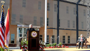 Iraqi President Jalal Talabani speaks at the January opening of the new U.S. Embassy in Iraq.
