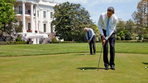 U.S. President Obama has made it to the links 24 times in his first 40 weeks in office.