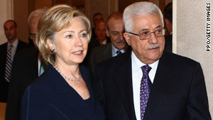 Secretary of State Clinton meets with Palestinian Authority President Mahmoud Abbas before flying to Israel for meetings.
