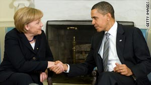 President Obama greets German Chancellor Angela Merkel, who addressed Congress on Tuesday.