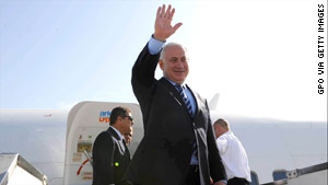 Israeli Prime Minister Benjamin Netanyahu boards a plane in Israel on Sunday ahead of his Washington visit.