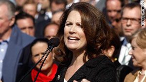 Rep. Michele Bachmann, R-Minnesota, leads a health care rally at the U.S. Capitol on November 5.