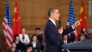 President Obama answers questions during a town hall meeting with future Chinese leaders.