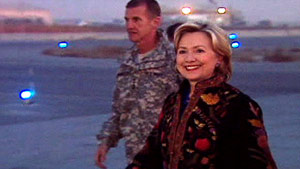 Secretary of State Hillary Clinton arrives in Kabul, Afghanistan, on Wednesday.
