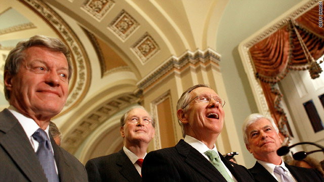 Key players on health care include, from left, Sen. Max Baucus, Sen. John Rockefeller, Sen. Harry Reid and Sen. Chris Dodd.