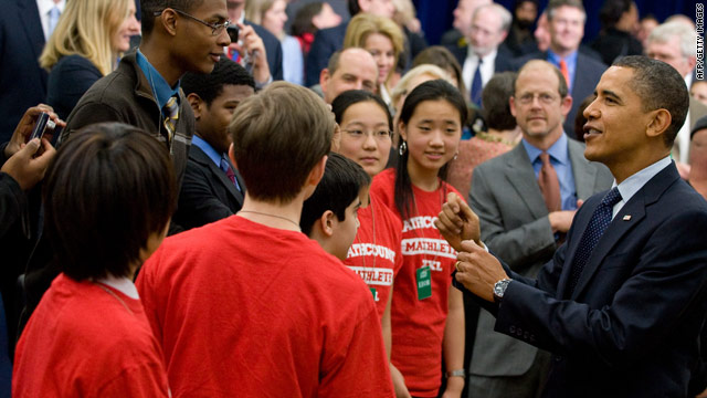 President Obama greets Washington-area students at an event Monday designed to promote science and math education.