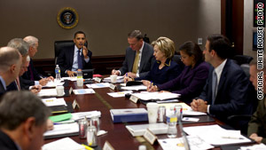 U.S. President Barack Obama meets with his national security team to discuss Afghanistan on Monday.