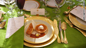 Dessert at the White House state dinner will be pumpkin pie tart or pear tatin with whipped cream and caramel sauce.