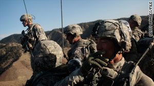 U.S. troops search for militants in the mountainous Taliban stronghold in Paktika Province in Afghanistan.