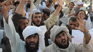 Pakistanis demonstrate during a rally against drone attacks.
