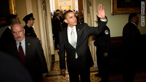 President Obama leaves after meeting with Senate Democrats to rally support for the health care bill.