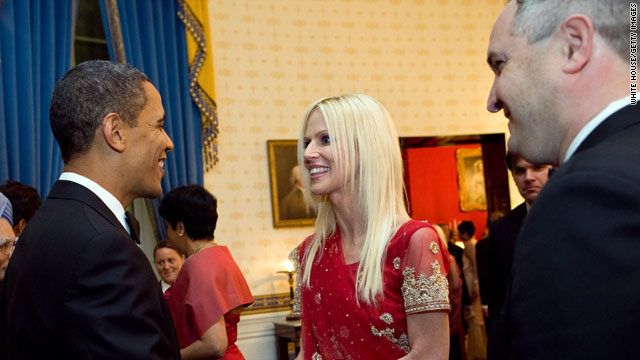 In a handout photo from the White House, President Obama greets Michaele and Tareq Salahi at the state dinner in November.