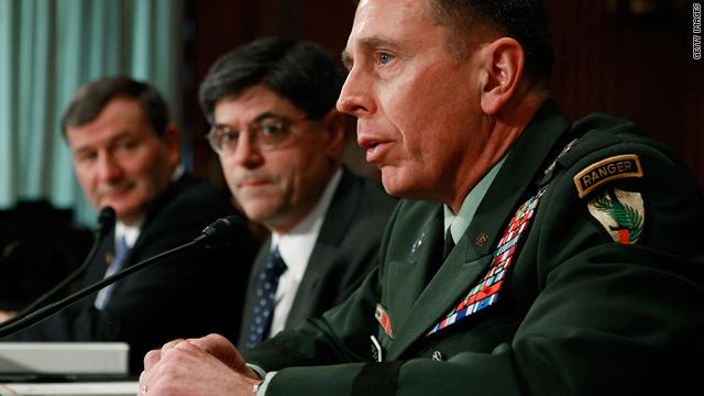 Karl Eikenberry, left, and Jacob Lew listen to testimony of Gen. David Petraeus during Senate committee hearing on Wednesday.