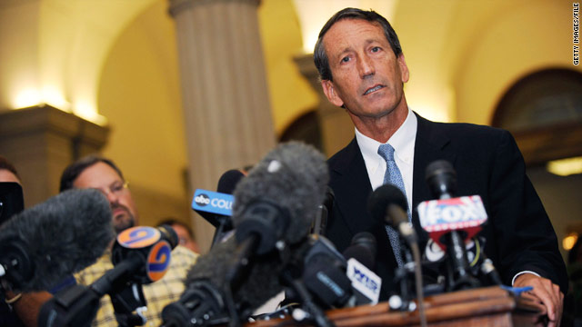 South Carolina Gov. Mark Sanford admits to an extramarital affair during a June news conference at the state Capitol in Columbia.