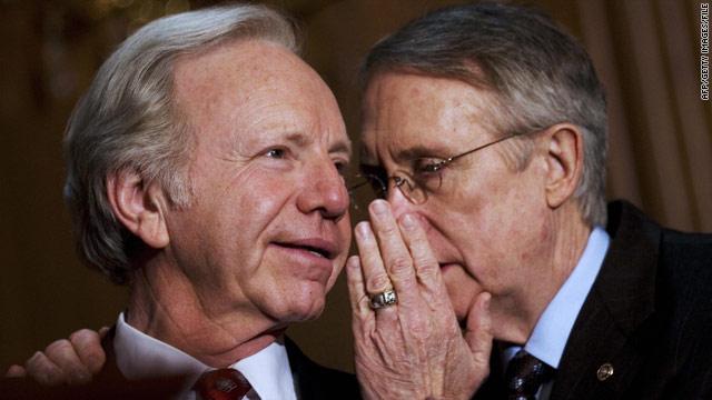 Sen. Joe Lieberman, left, and Sen. Harry Reid confer in 2007.