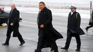 President Obama arriving in Copenhagen for the final day of climate change talks.