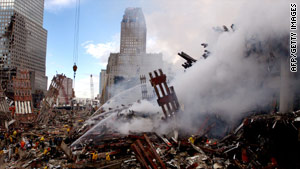 Fires still burned amid the rubble of the World Trade Center three days after the September 11, 2001 terrorist attack.