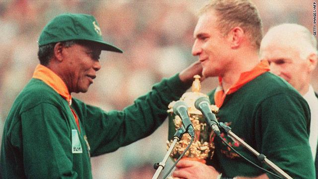 Nelson Mandela congratulates Francois Pienaar after the 1995 World Cup final.