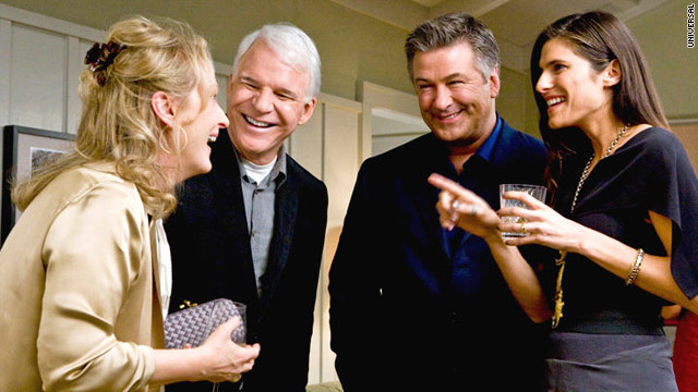 "Meryl Streep, Steve Martin, Alec Baldwin and Lake Bell share a laugh in ""It's Complicated."""