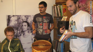Gaby Kerpel (aka King Coya), Leonardo Martinelli (aka Tremor) and Grant Dull (aka El G) rehearsing.