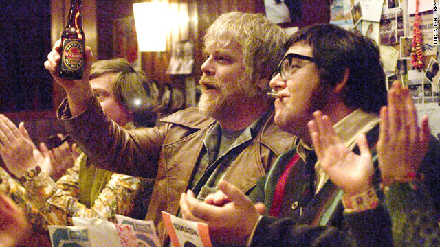 "Philip Seymour Hoffman and Nick Frost are among the stars of ""Pirate Radio."""