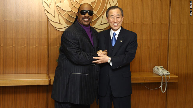 Stevie Wonder poses with U.N. Secretary-General Ban Ki-moon Thursday morning.