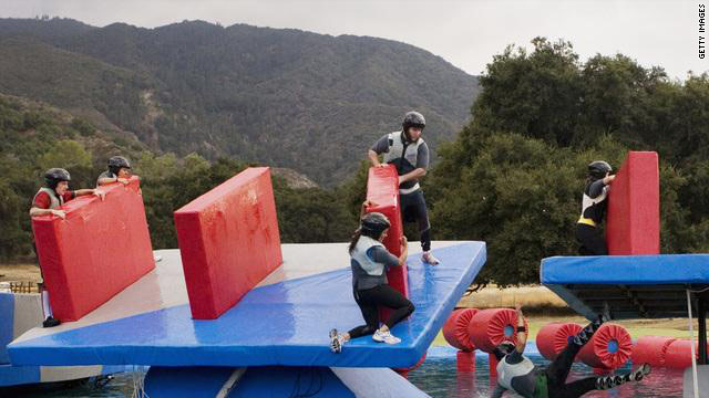"An episode of ""Wipeout"" often features physically challenging obstacle courses."