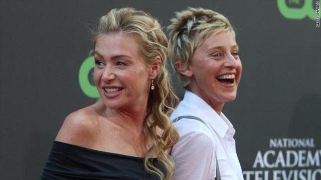 Actress Portia de Rossi (left) and Ellen DeGeneres exchanged vows in 2008.