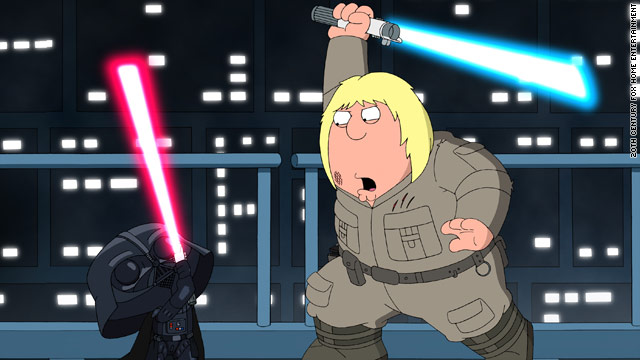 "Darth Vader (Stewie) challenges Luke (Chris) in ""Something, Something, Something, Dark Side."""