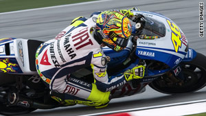 Valentino Rossi built up an unassailable lead over teammate Jorge Lorenzo.