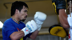Manny Pacquiao pictured training in Baguio City in the northern Philippines in late September.