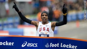 Meb Keflezighi becomes the first American since Alberto Salazar in 1982 to win in New York.