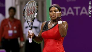 Serena Williams celebrates ending a dominant week with victory in the season-ending WTA Championship.
