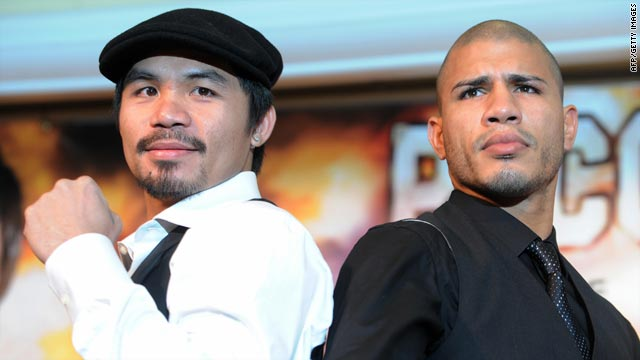Filipino boxing star Manny Pacquiao, left, is seeking to make history in his title clash with Miguel Cotto in Las Vegas.