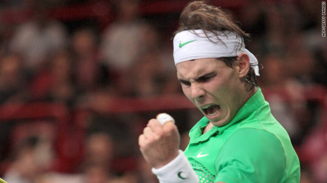 Rafael Nadal showed much improved form to see off defending champion Jo-Wilfried Tsonga in Paris.