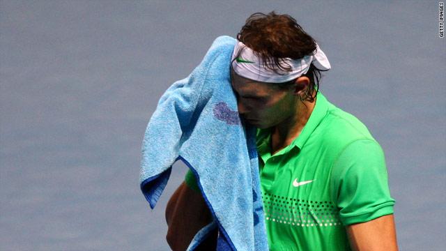 Nadal cut a dejected figure as he was easily beaten by Swede Soderling.
